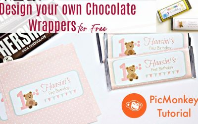 Do It Yourself – Tutorials – Design Chocolate Wrappers for Kids Parties | First Birthday Decorations at home