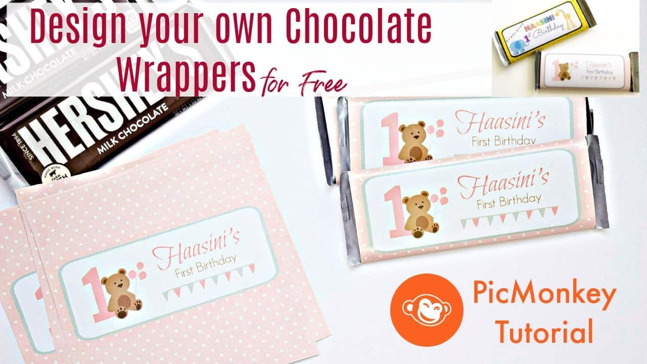 Design Chocolate Wrappers for Kids Parties | First Birthday Decorations at home