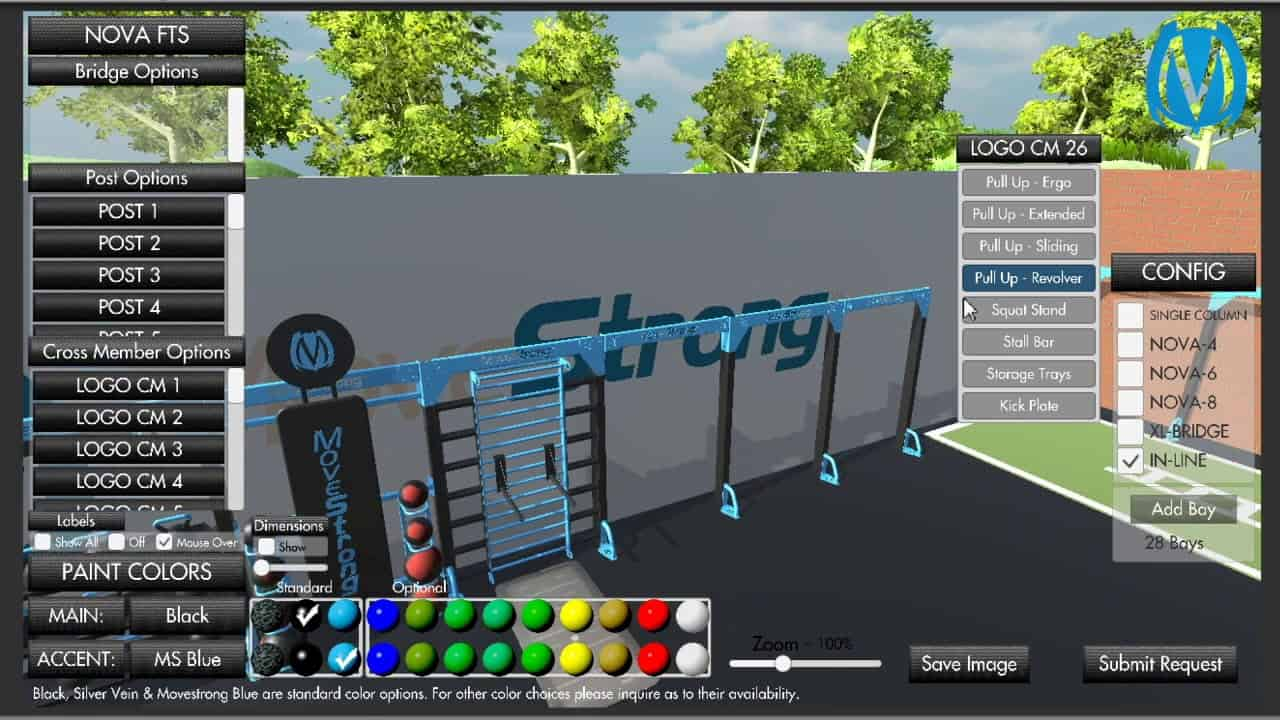MoveStrong Nova In-Line Model Build Your Own Demo - Space Efficient Fitness Studio Gym Design
