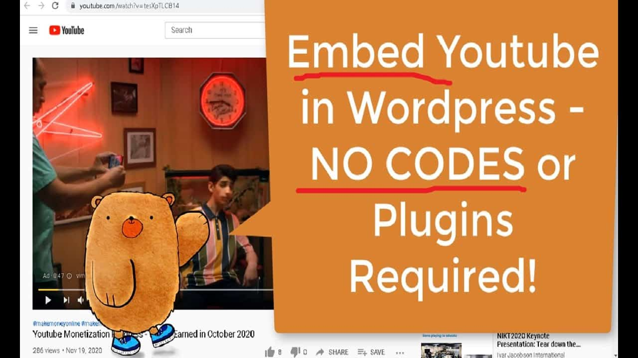 How To Embed Youtube Video in Wordpress - No Plugins or Codes Required