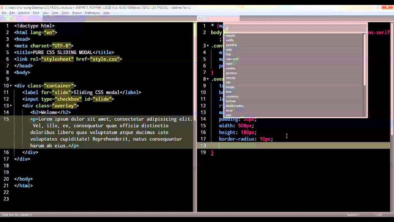 Pure CSS Sliding Modal