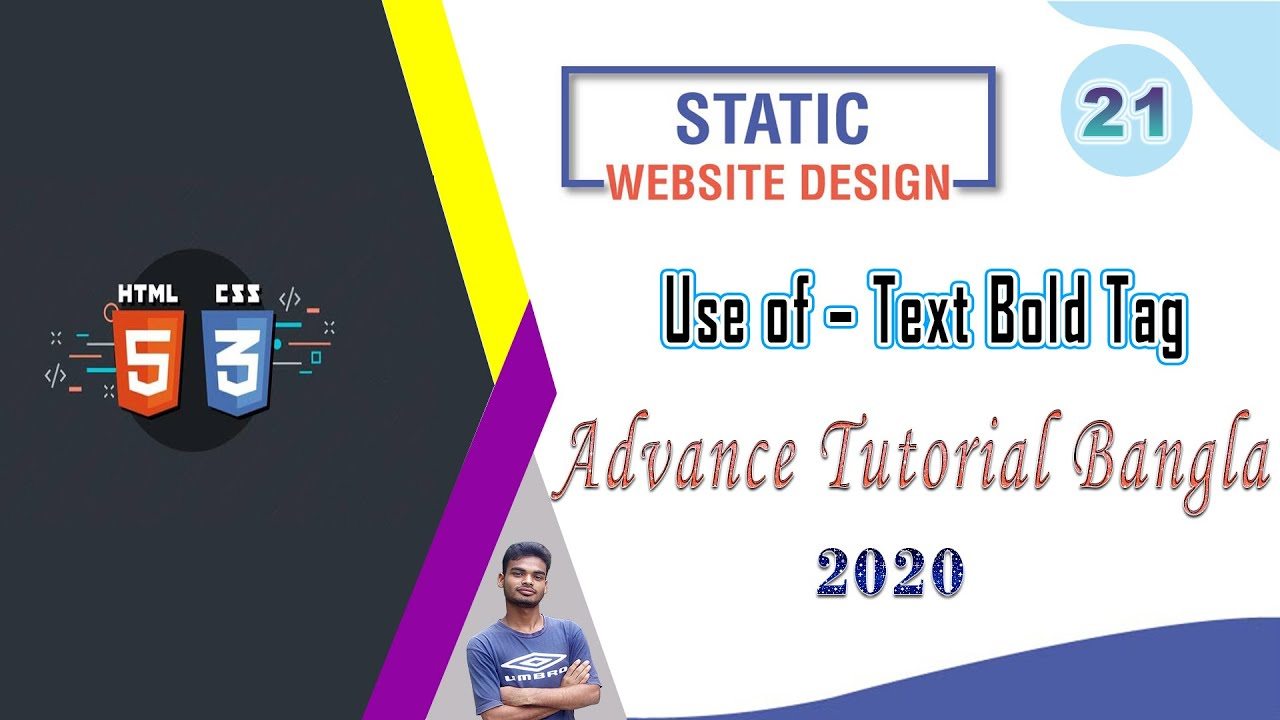 Web Design [21] How To Web Design Html And Css Use of – Text Bold Tag Bangla Tutorial 2020