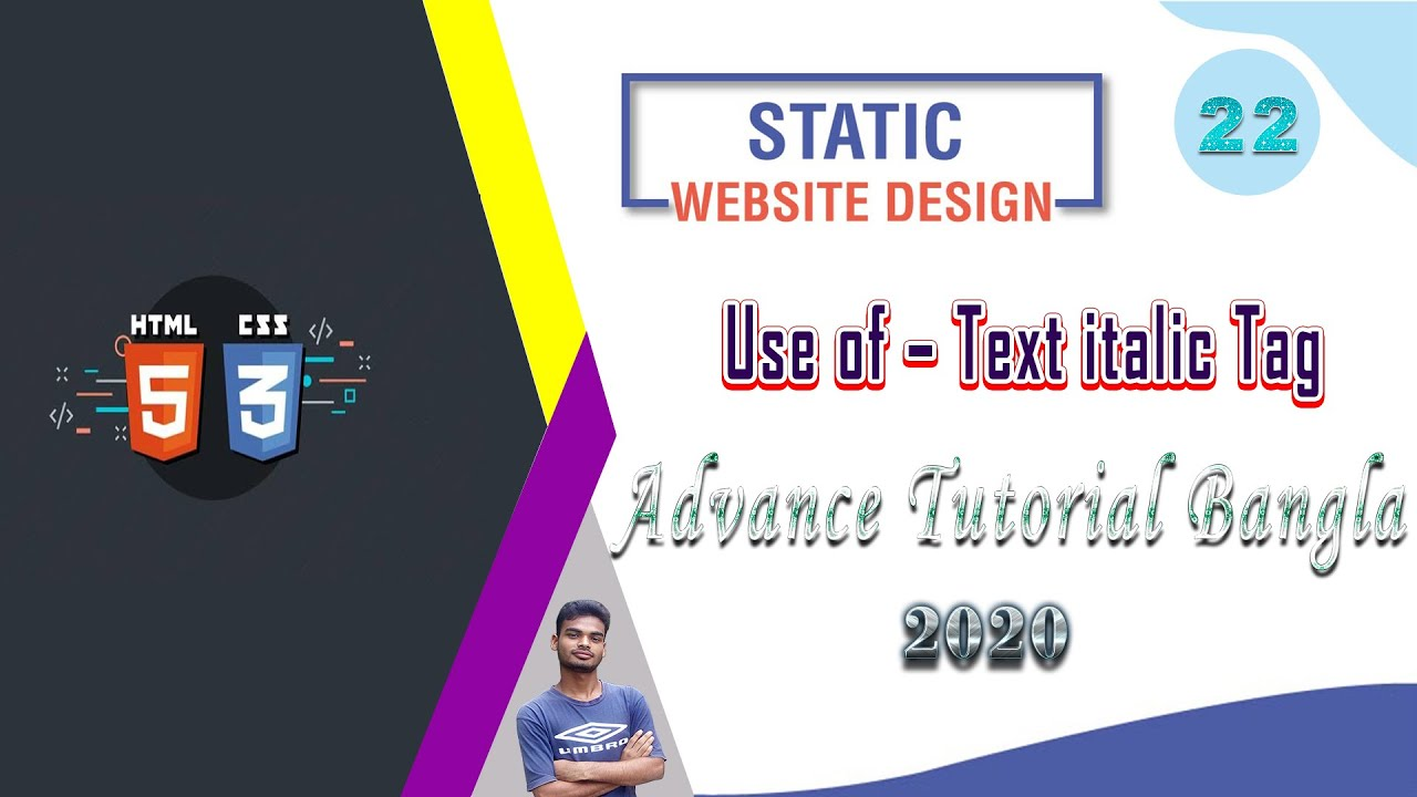 """Web Design [22] How To Web Design Html And Css """"Use of – Text italic Tag"""" Bangla Tutorial 2020"""