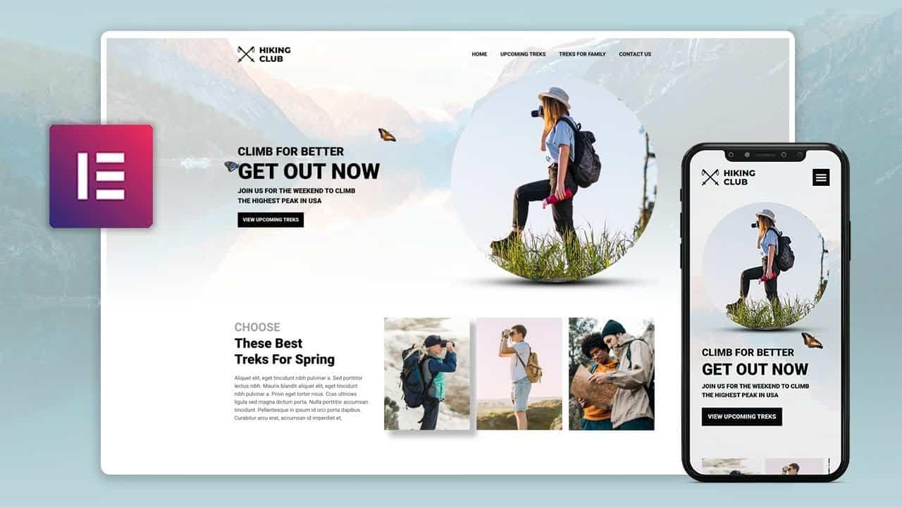 Elementor Web Design Speed Art 2021   Hiking Club