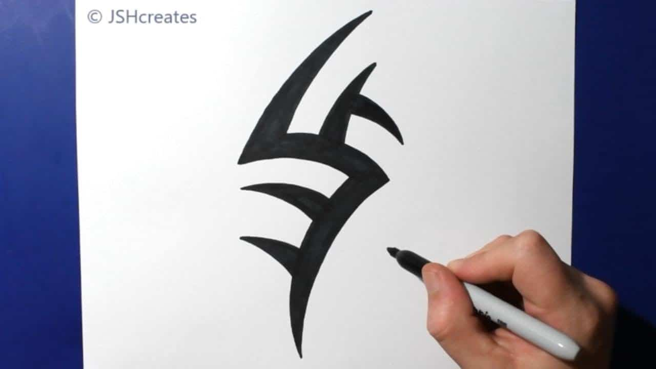 How to Draw a Small Spiky Tribal Tattoo Design