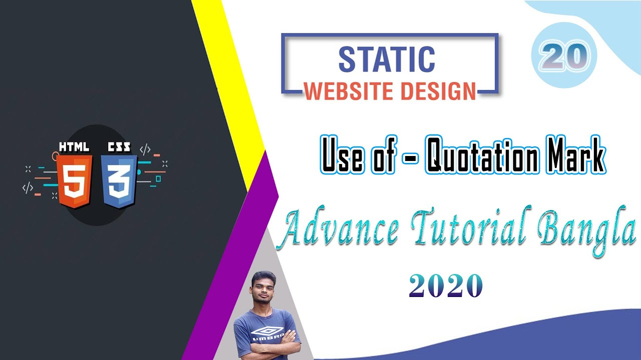 """Web Design [20] How To Web Design Html And Css """"Use of – Quotation Mark"""" Bangla Tutorial 2020"""