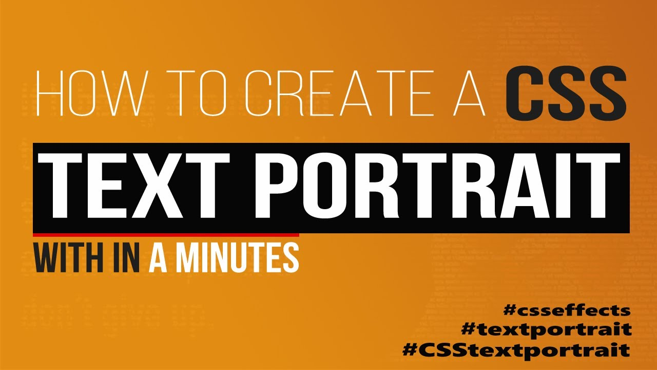 How to Create CSS Text Typography Portrait Effects using Html & CSS | Html CSS Tutorial
