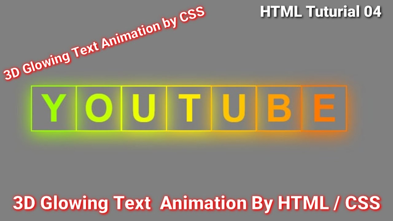 3D Glowing Animation Text Making by Html / CSS 2021   html /css Tutorial