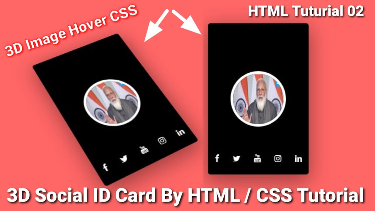 Virtual ID Card Making by HTML /CSS Tutorial 2021 | Social ID Card with Animation by HTML / CSS