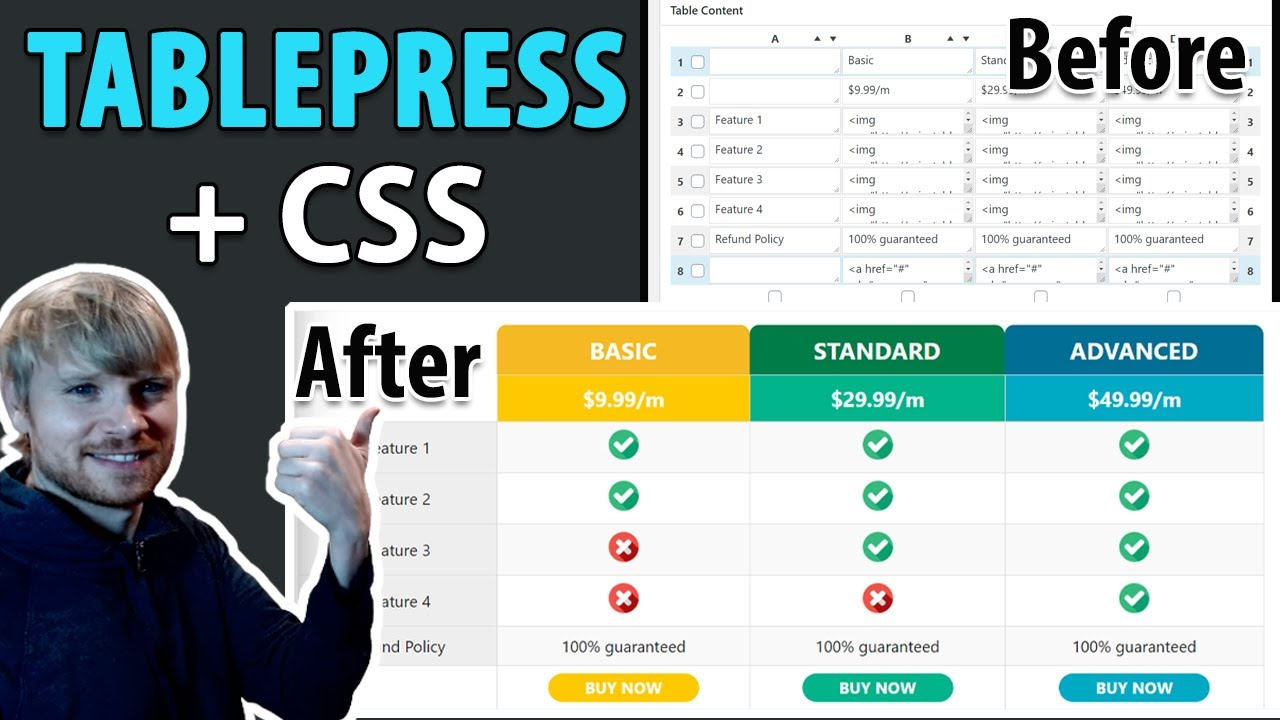 Make a WordPress Pricing Table with TablePress