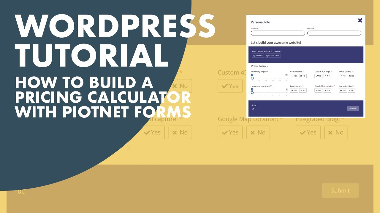 How to build a Pricing Calculator for your WordPress website, using the Piotnet Forms Pro