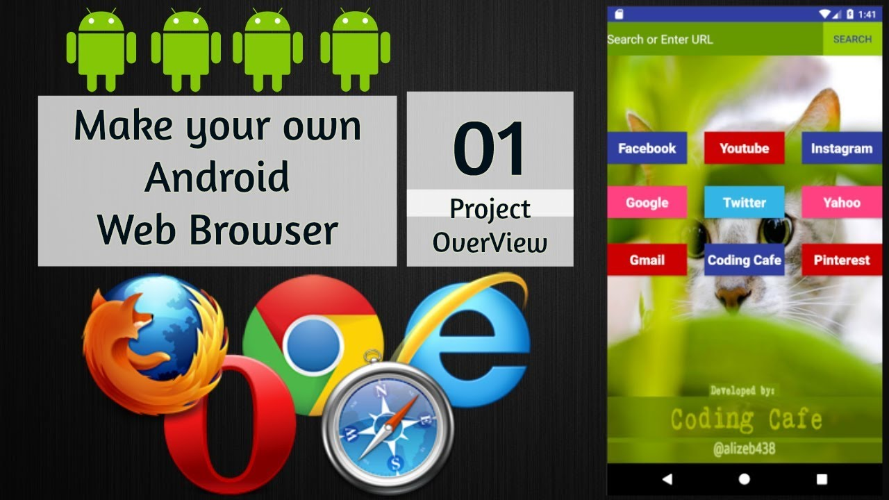 Android Web Browser App Tutorial 01 - Android Studio Tutorial - Make your own Android Web Browser