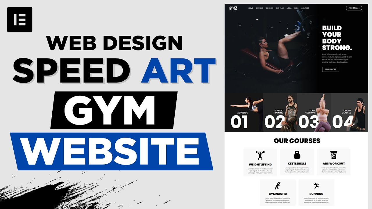 Designing a Beautiful Website for GYM - Web Design Speed Art - Elementor & WordPress