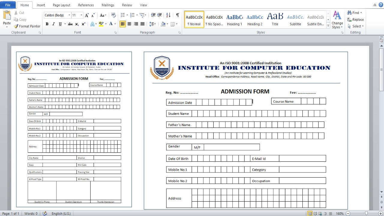 MS Word Tutorial : How to create admission form for school, college and coaching institute