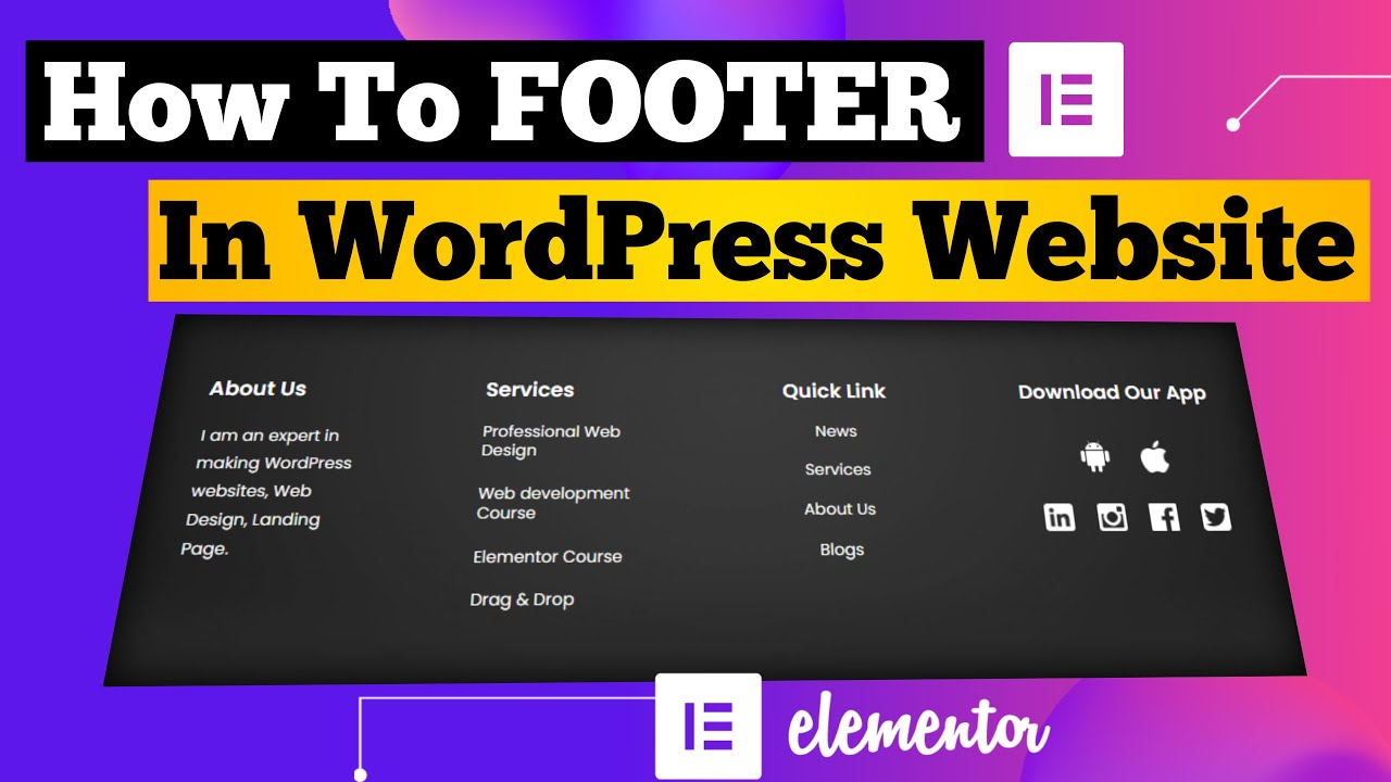How To Create Footer In WordPress Website With Elementor 2021   Elementor Footer Tutorial