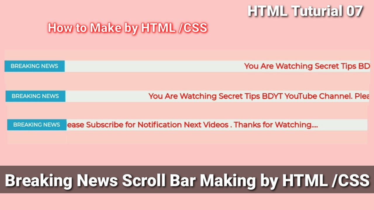 Breaking News Scroll Bar Making by Html / Css 2021   Html/Css Tutorial