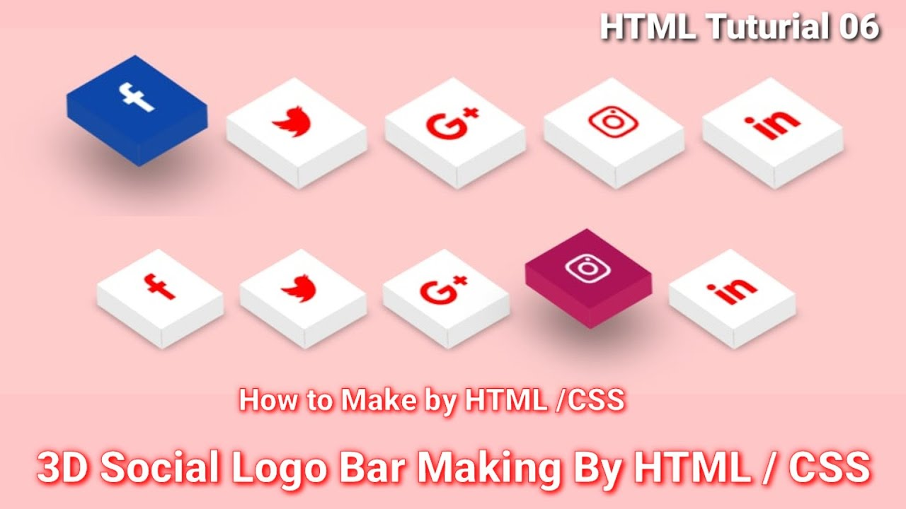 CSS Hover | 3D Social Bar Animation by HTML / CSS 2021 | HTML /CSS Tutorial