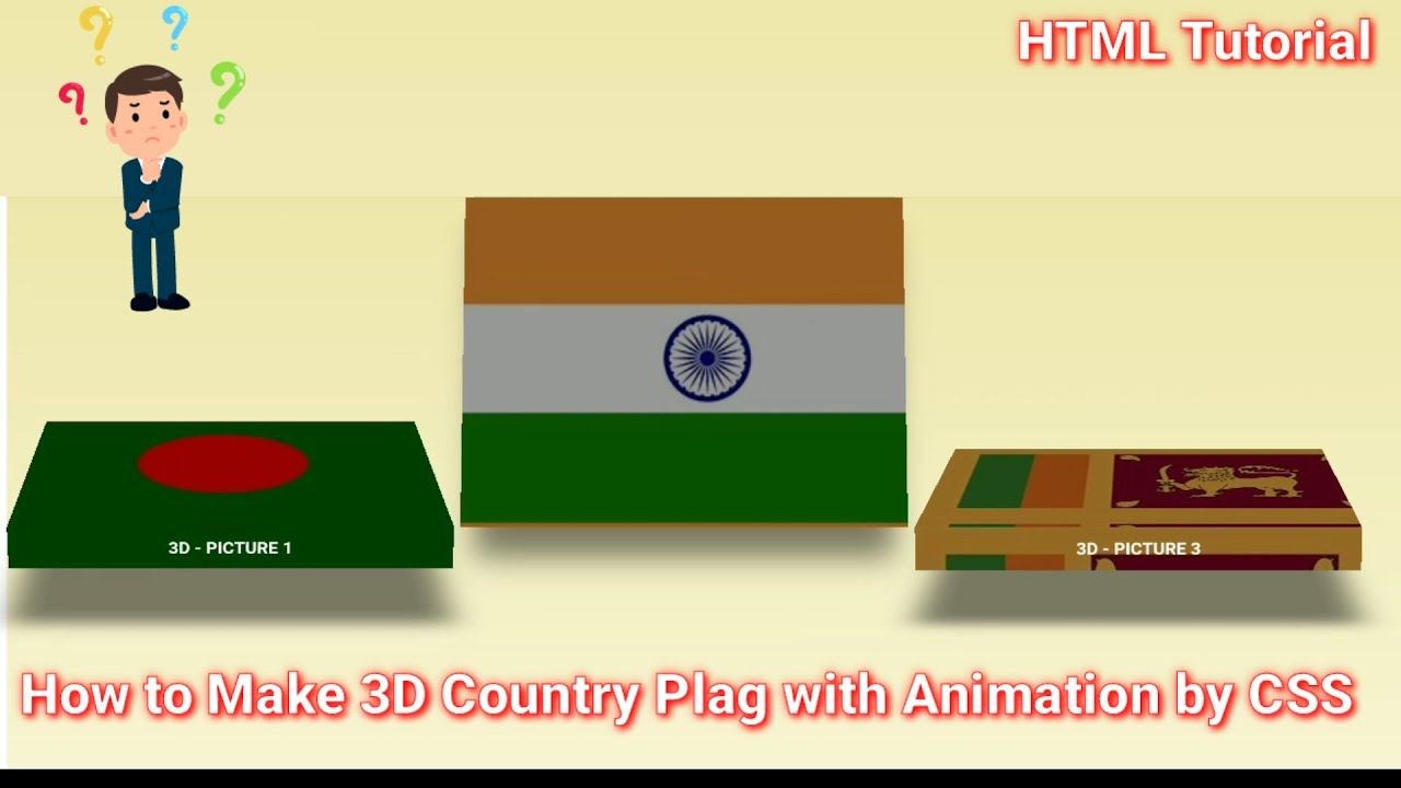 How to Make 3D Country Plag with Animation by html /Css 2021 | Css Tutorial