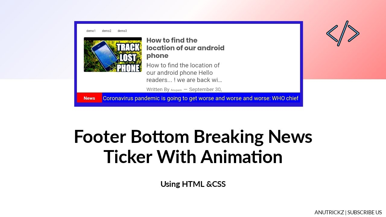 Footer Bottom News Ticker with Animation   html css quick tutorial