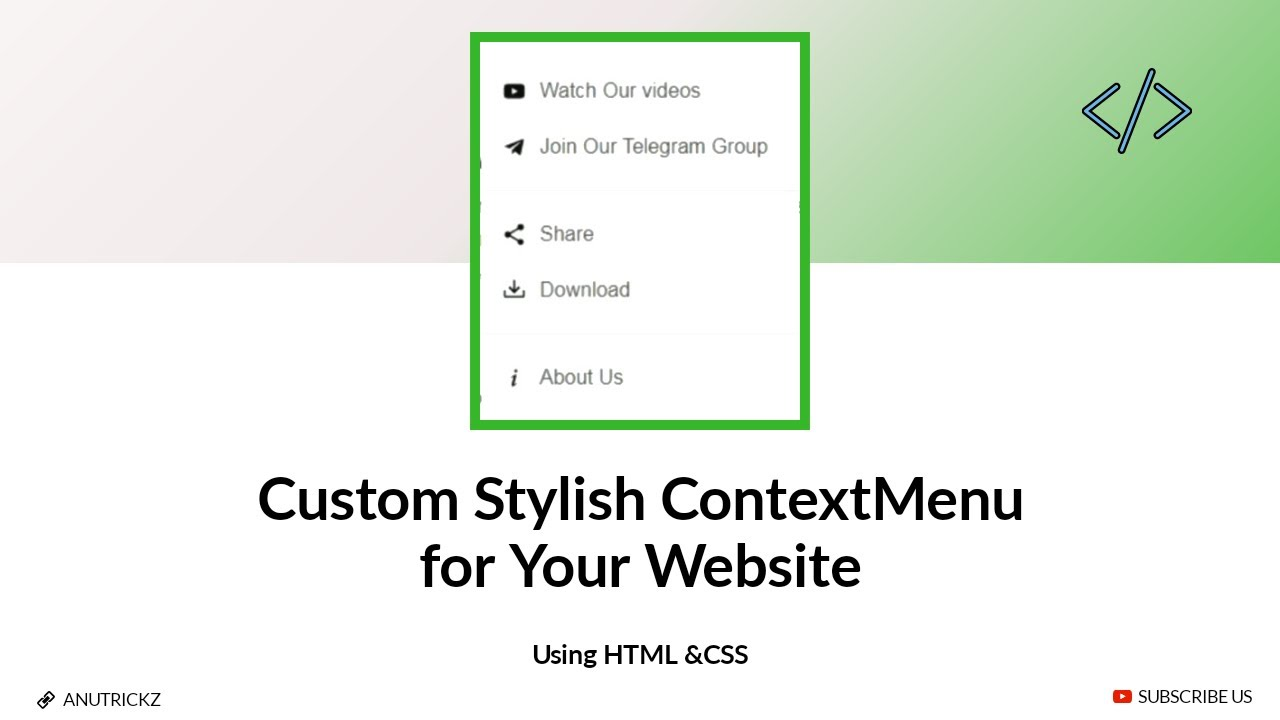 How to Install Custom Stylish Context Menu on Your website | html css Quick Tutorials