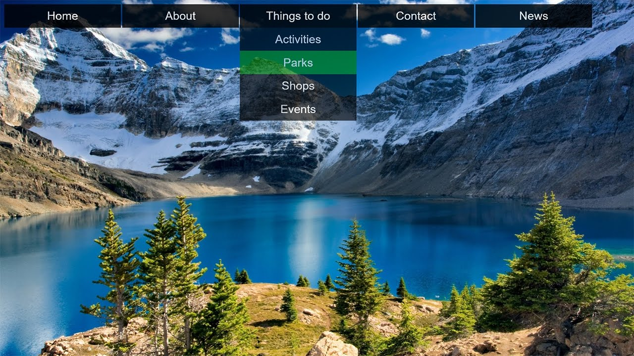How to Create Transparent Drop Down Navigation Menu with CSS and HTML Tutorial