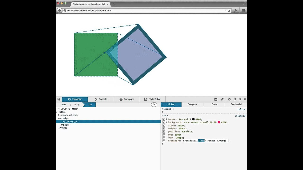 Visualize the effect of CSS transforms in FirefoxDevTools' inspector
