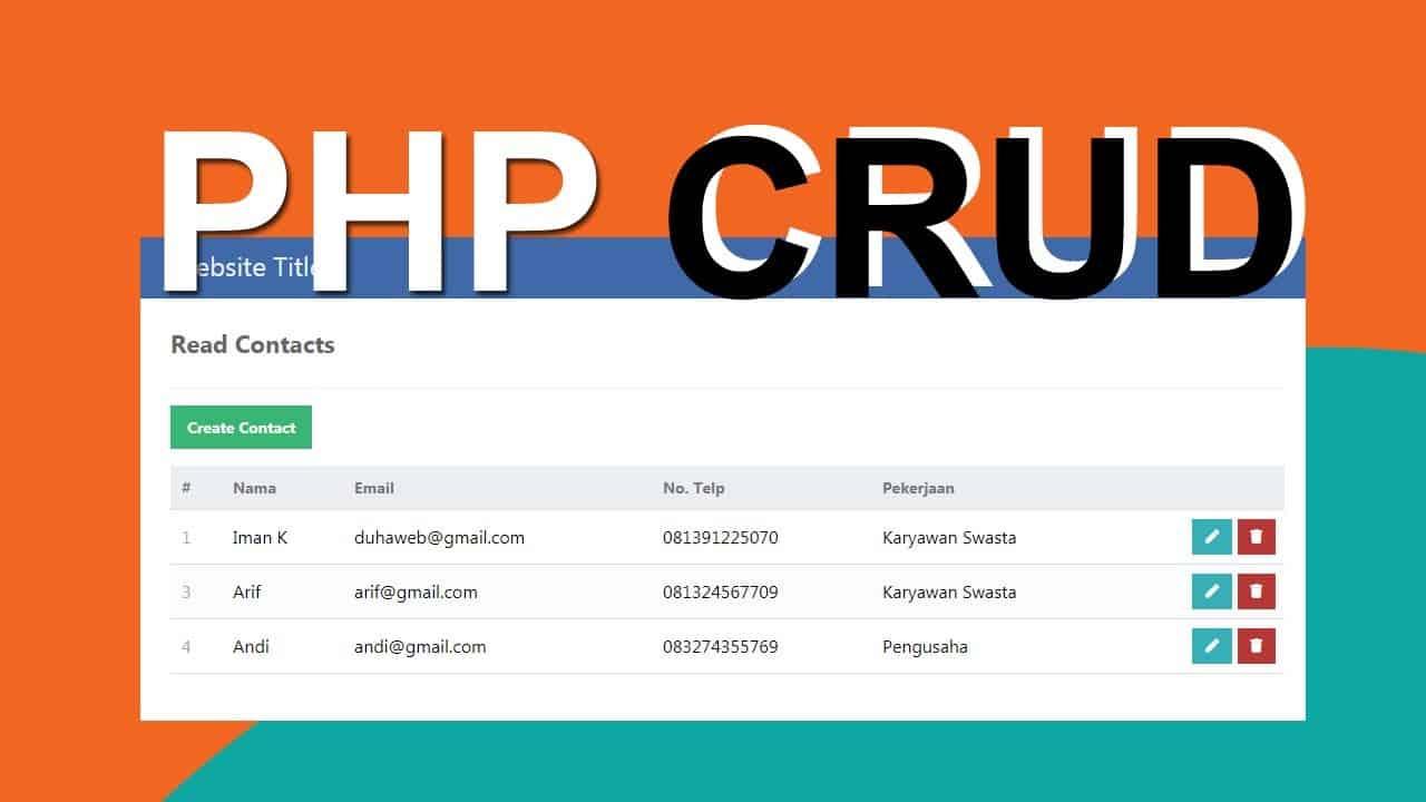 PHP CRUD - Cara Membuat CRUD dengan PHP dan MySQL