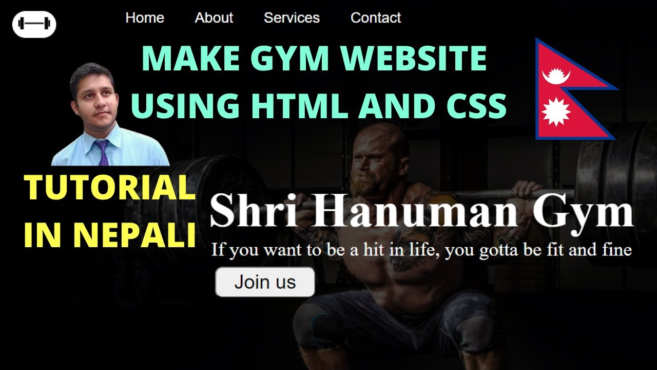 Make website using HTML and CSS   Web development Nepali   gym website in nepali