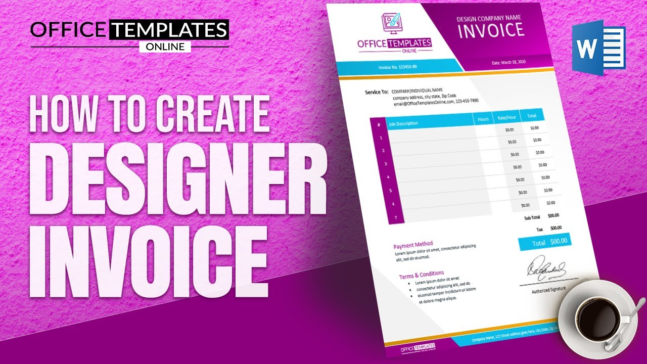 Making a Professional Invoice Design in MS Word | Graphics Designer Invoice Tutorial