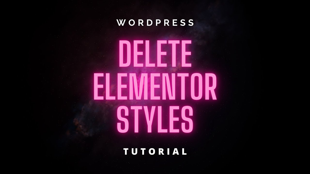 How to Delete All Elementor Styles and Templates