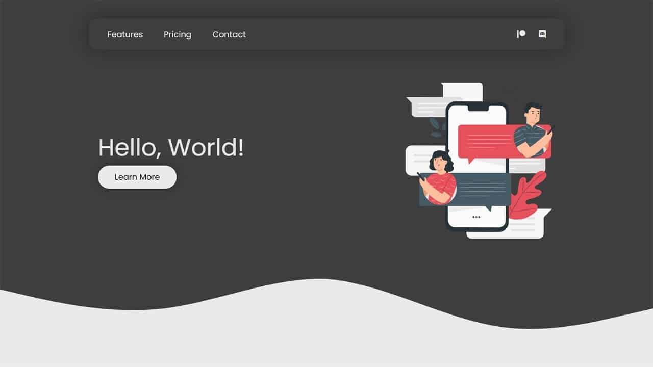 Wavy Landing Page Design - HTML & CSS