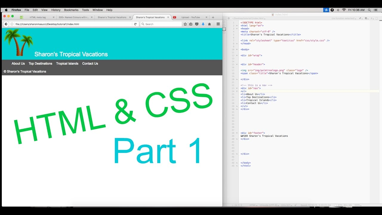 How To Code: HTML & CSS - Basic Website Setup | Beginner Tutorial Part 1