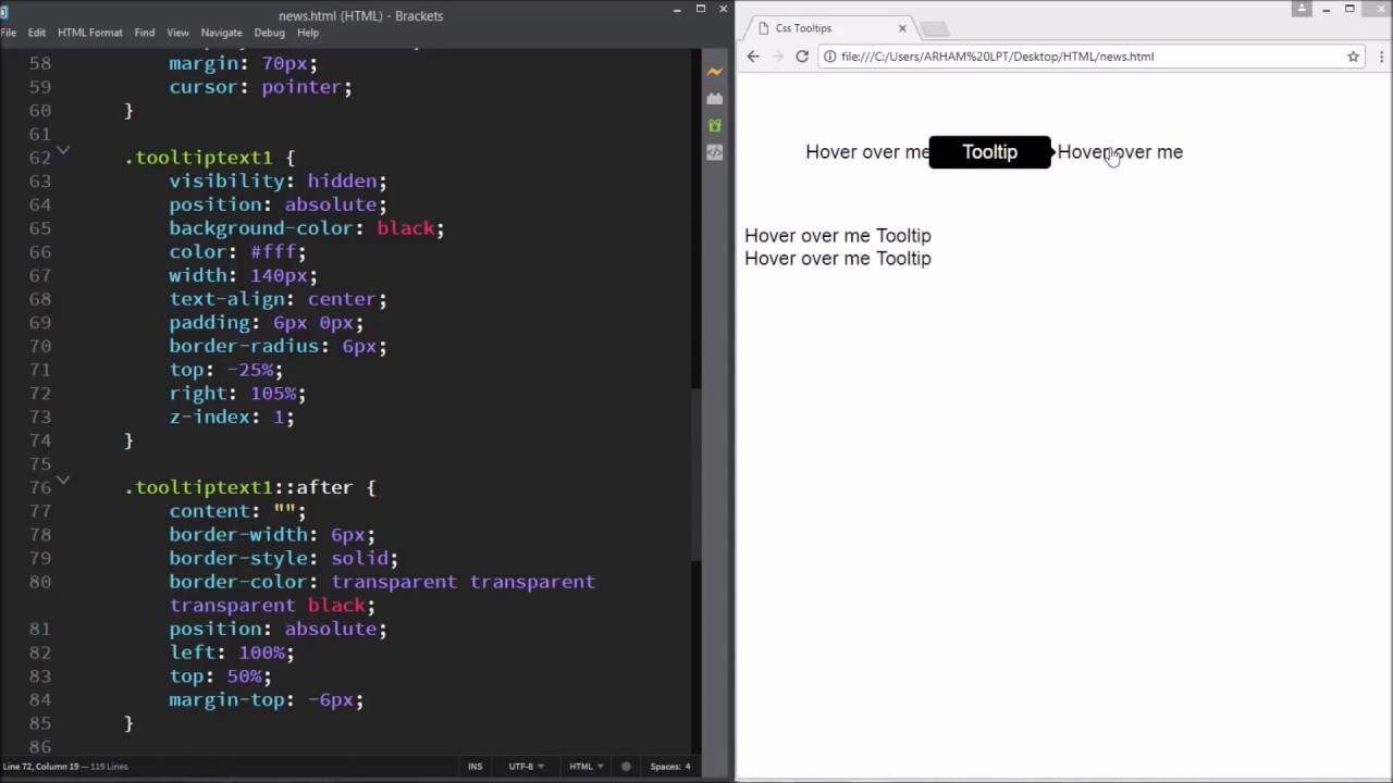 CSS Tooltips: How to make tooltips using html and css | HTML & CSS