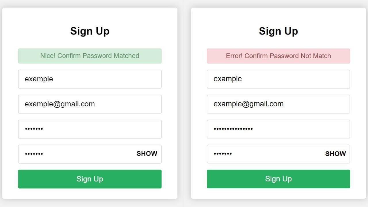 Confirm Password Check in HTML CSS & JavaScript