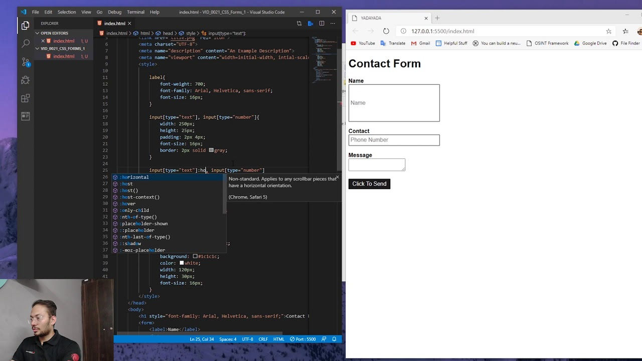 Basics of CSS - Forms 1, Text, Number, Textarea, and Submit