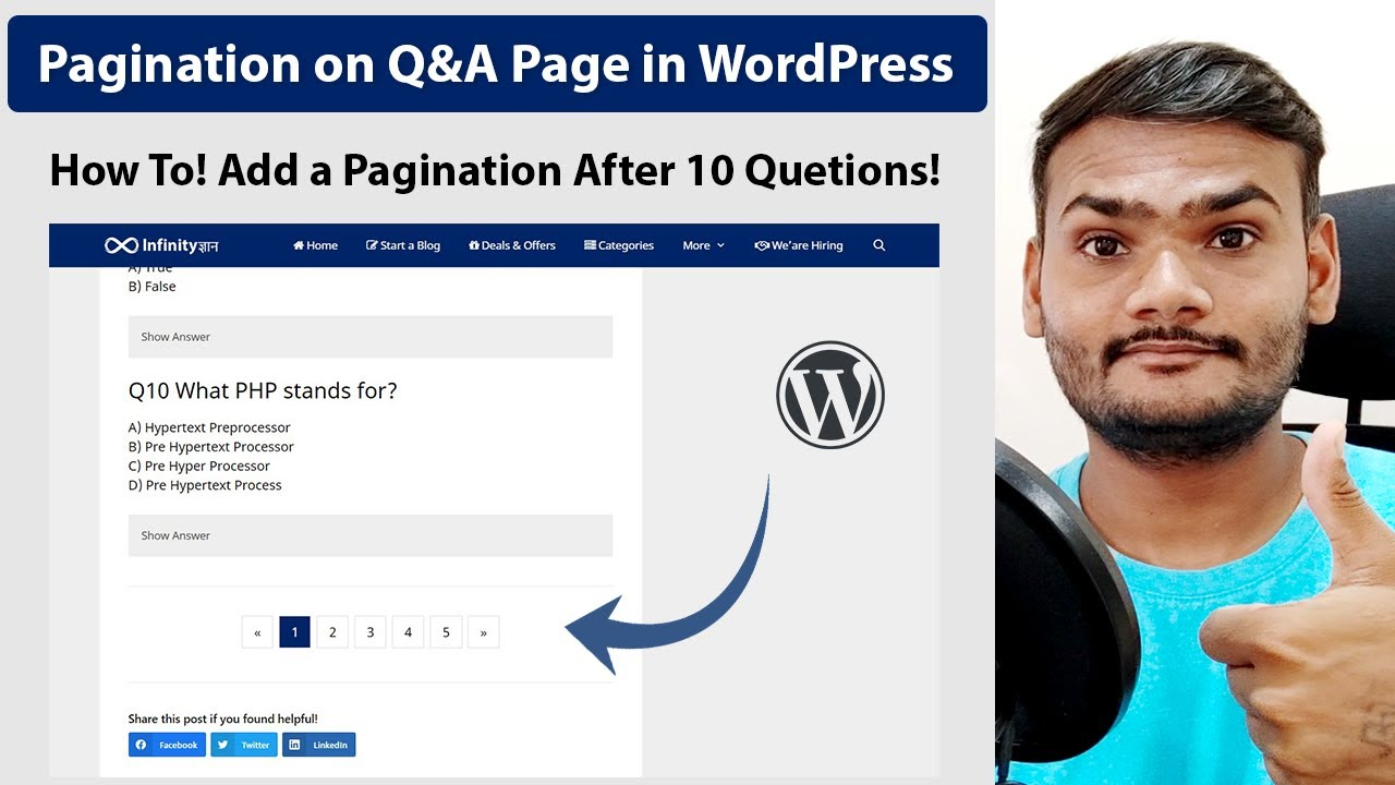 How To Add a Pagination on Q&A Page in WordPress Using HTML and CSS
