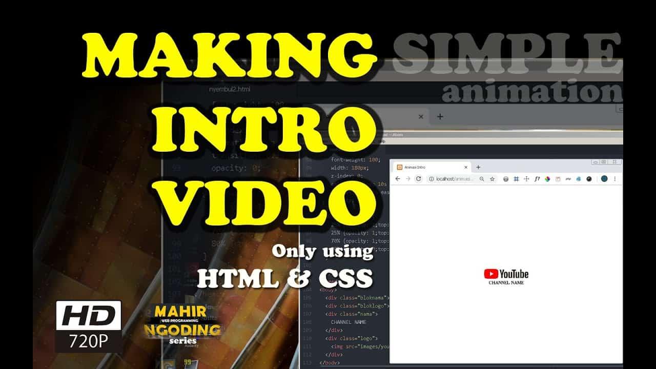 CARA MEMBUAT TEKS ANIMASI | OPENING VIDEO | Ngoding bahasa HTML & CSS | MAHIR NGODING playlist