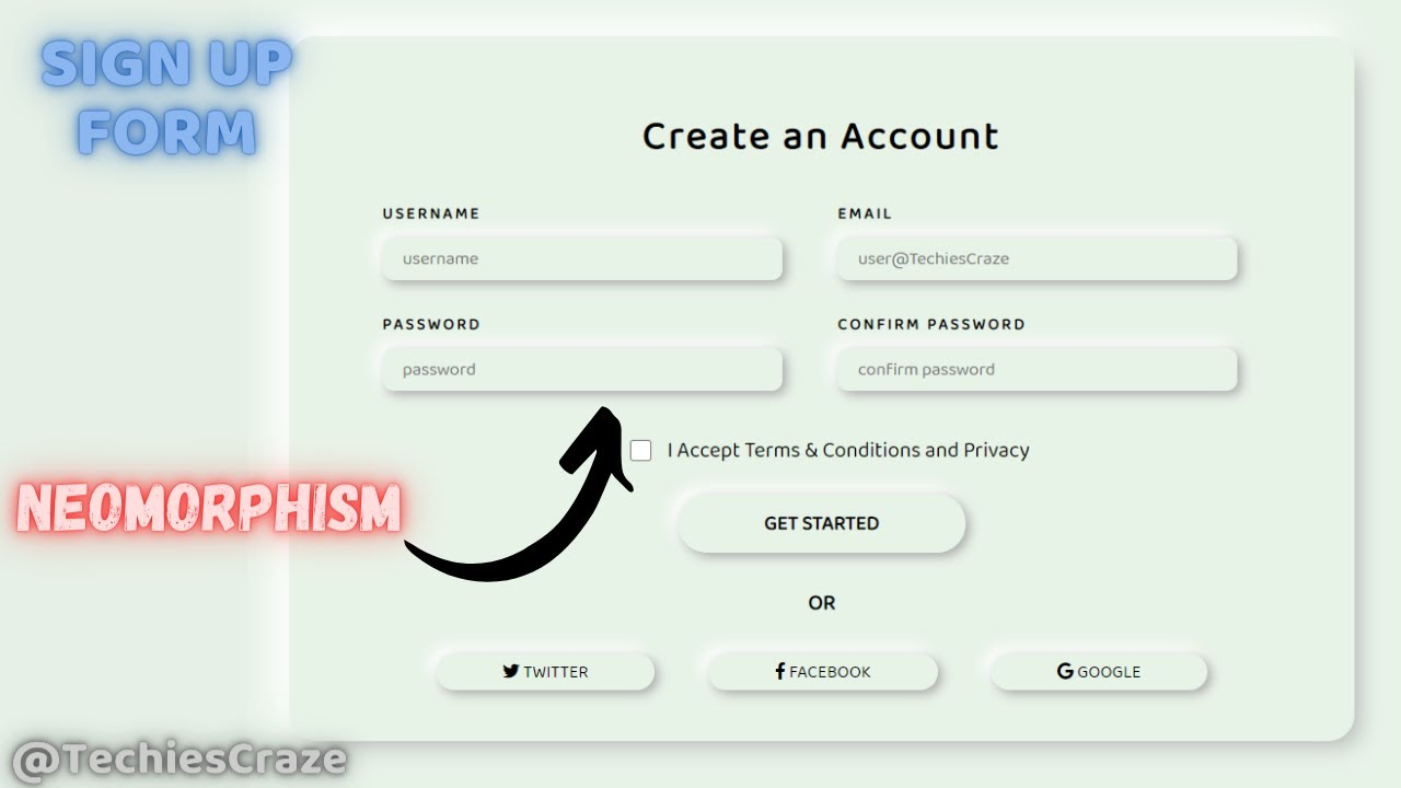 Sign Up Form with Neomorphism Design UI using HTML & CSS | TechiesCraze