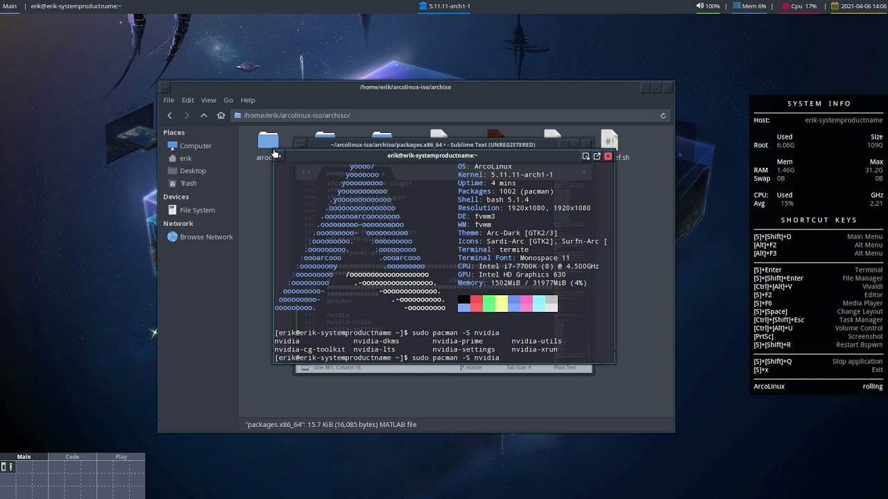 ArcoLinux : 1947 Build your own iso and add nvidia, nvidia-settings and nvidia-utils
