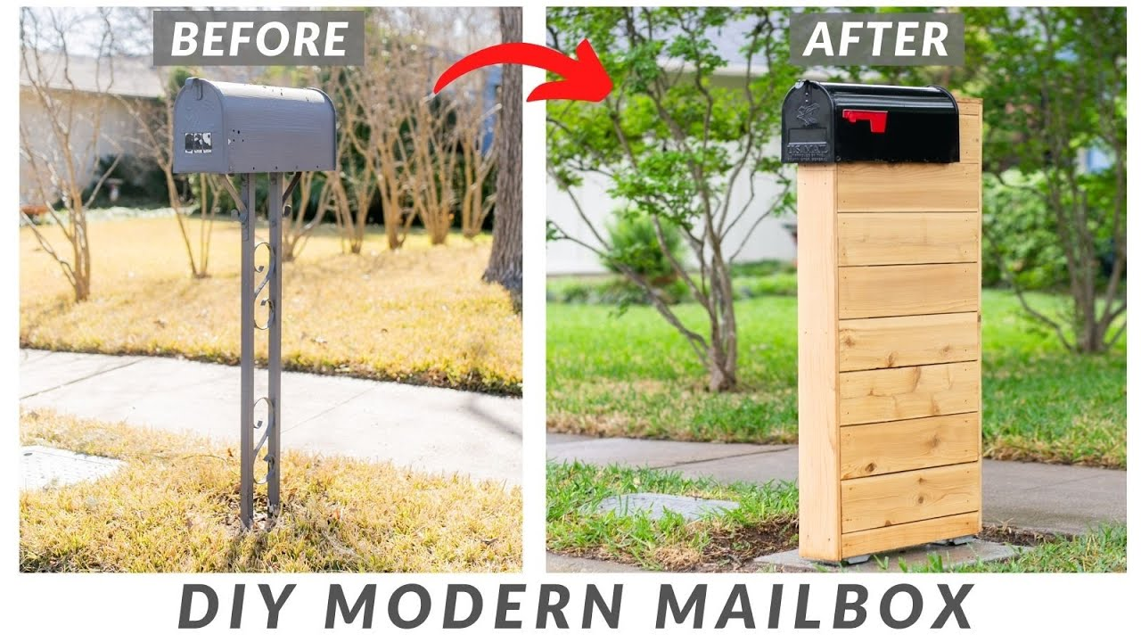 DIY Modern Wood Mailbox With Concrete Slab | How to Build (with plans!)