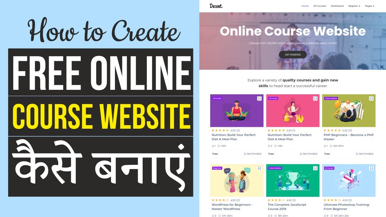 How to Create FREE Online Course LMS Website like Udemy with WordPress & Tutor LMS - Hindi Tutorial