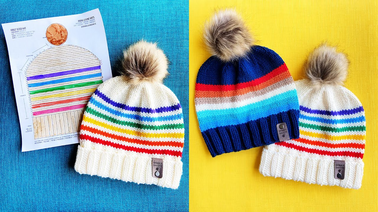 How to Knit a Hat for Beginners: Retro Style!   Quick and Easy Knitting Pattern Tutorial