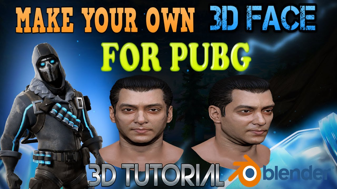 PUBG 3D LOGO | MAKE YOUR OWN 3D FACE FOR PUBG CHARACTER | PUBG 3D CHARACTER | PUBG BLENDER TUTORIAL