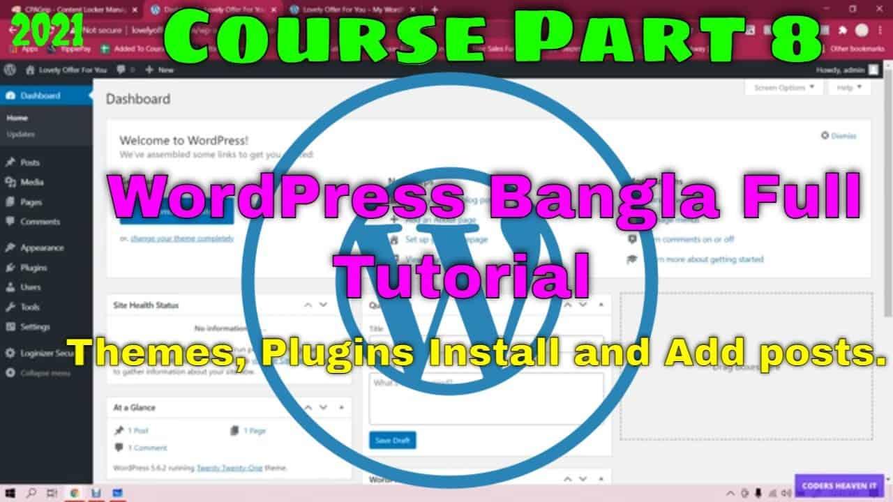 How to install new theme, add plugin, add new post in WordPress. WordPress Bangla tutorial 2021