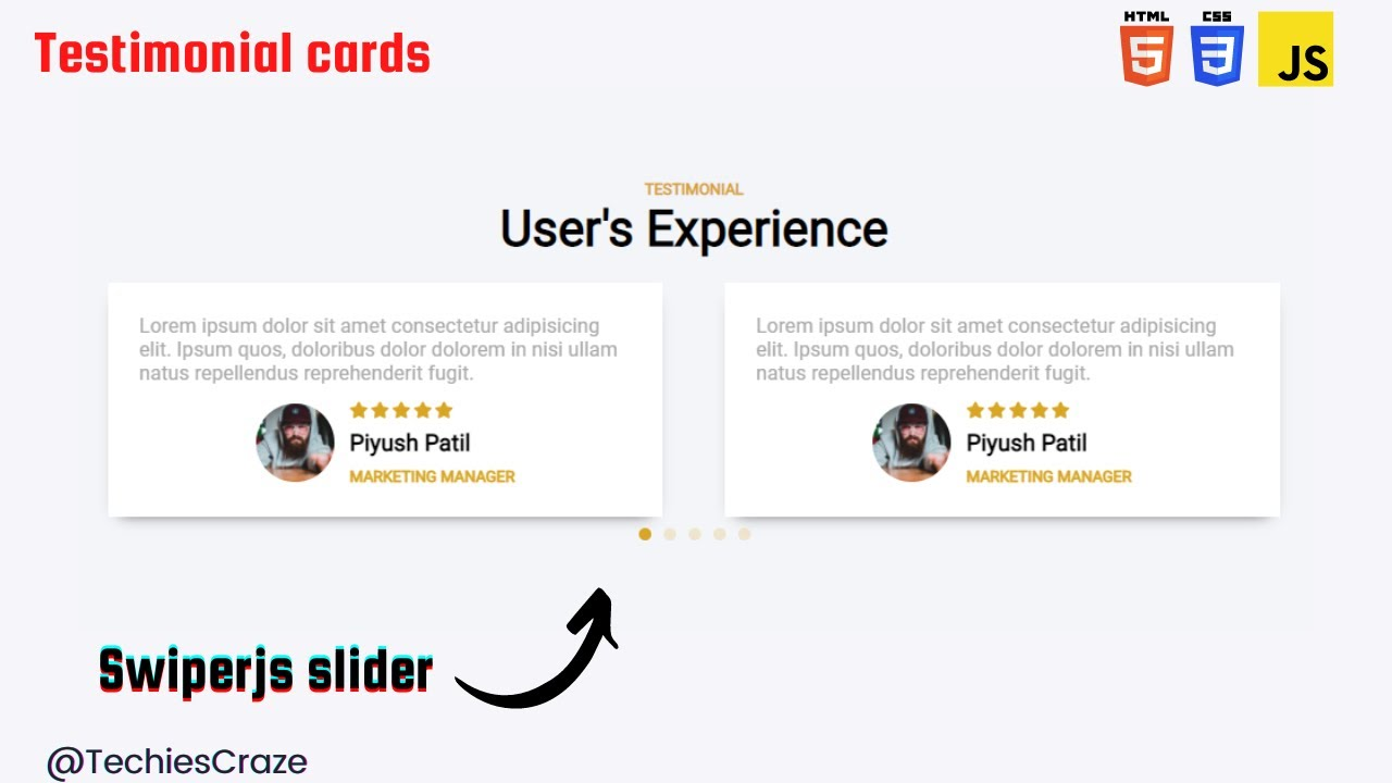 Responsive Testimonial Carousel using HTML, CSS & JavaScript(swiperjs) | TechiesCraze