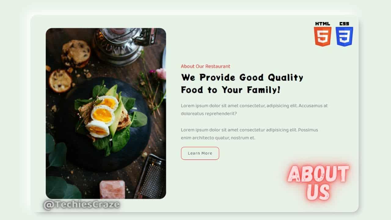 Restaurant Website About Us Section using HTML & CSS | TechiesCraze