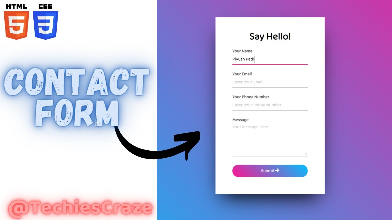 Contact Form with Gradient Background using HTML & CSS | TechiesCraze