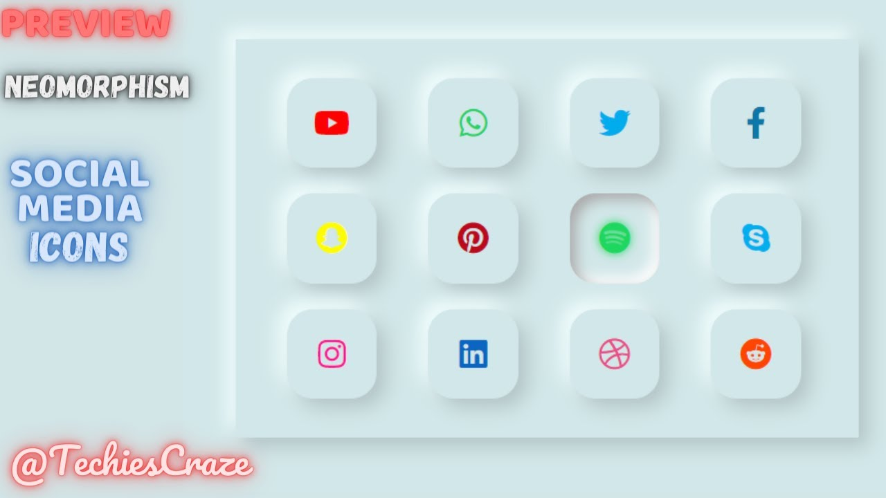 PREVIEW | Social Media Icons with Neomorphism Design UI using HTML & CSS | TechiesCraze