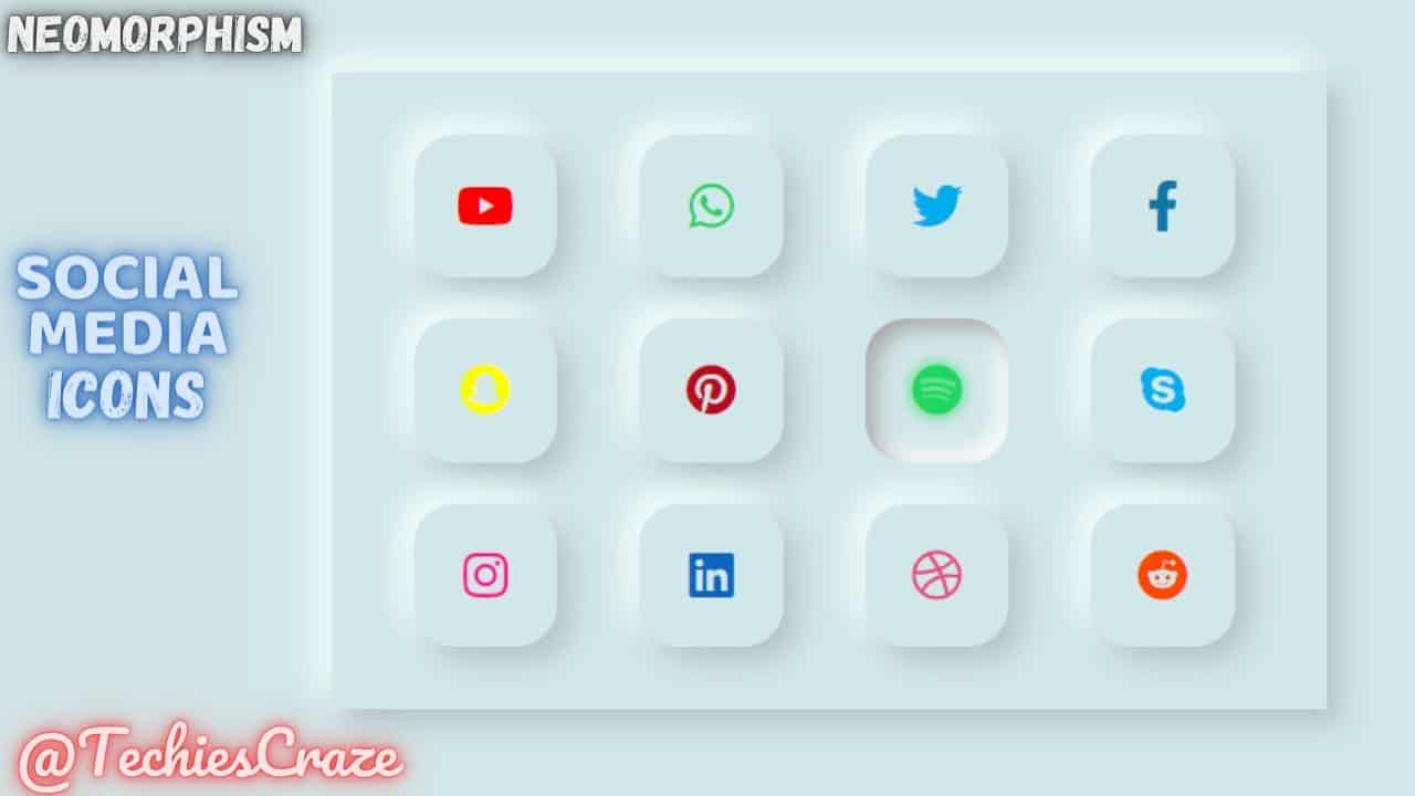 How to Get Icons using Font Awesome cdn with Neomorphism Design UI using HTML & CSS | TechiesCraze