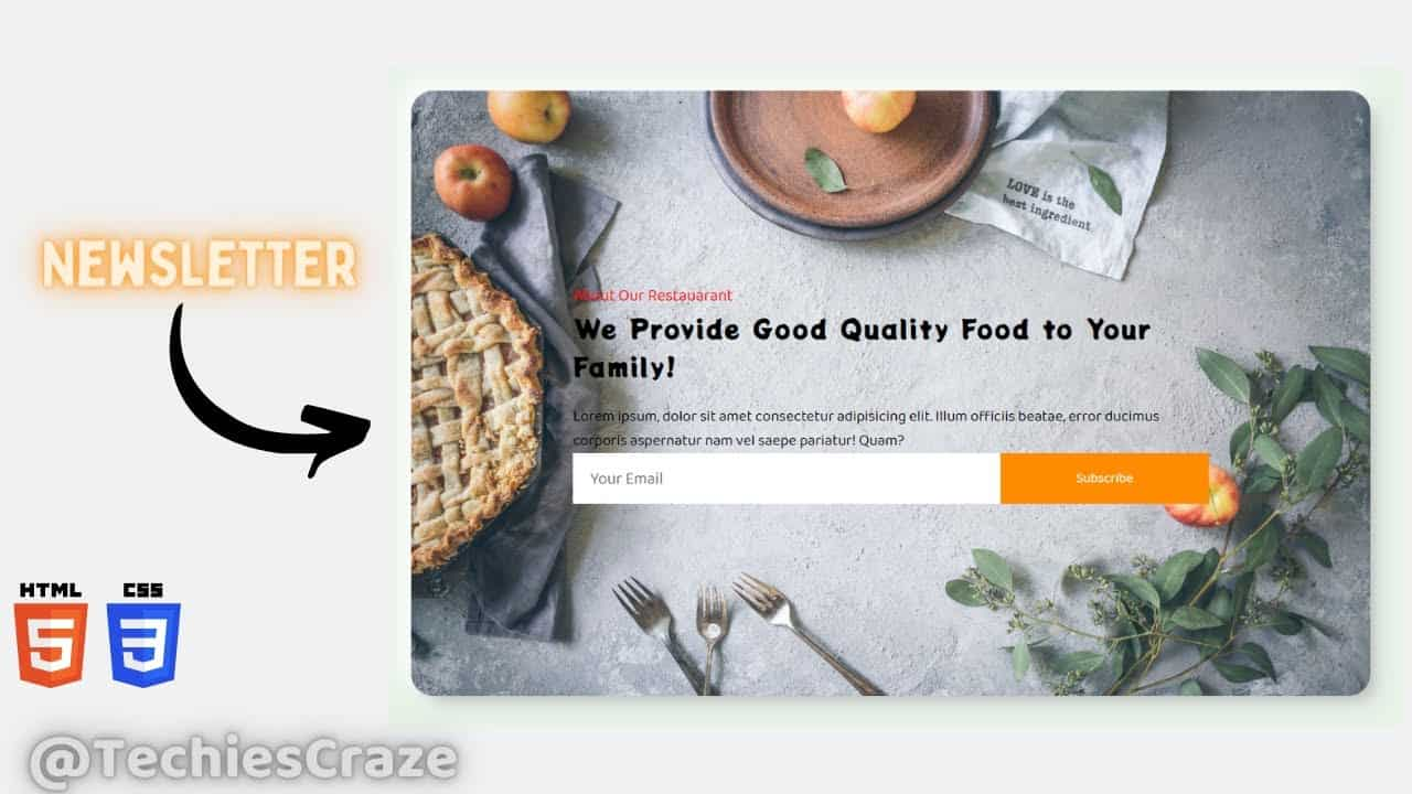 Newsletter Section of Restaurant Website using HTML & CSS   TechiesCraze
